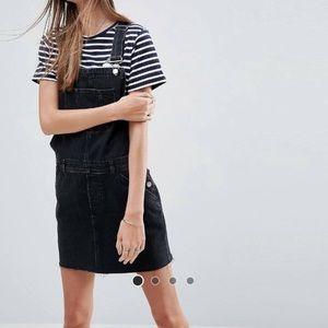 Asos denim pinafore overall jumper dress